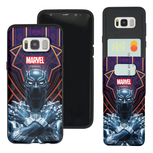 Galaxy S7 Edge Case Marvel Avengers Slim Slider Card Slot Dual Layer Holder Bumper Cover - Black Panther Face Lines