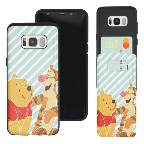 Galaxy S8 Case (5.8inch) Disney Pooh Slim Slider Card Slot Dual Layer Holder Bumper Cover - Stripe Pooh Tigger