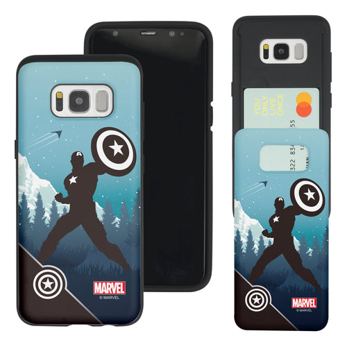 Galaxy S7 Edge Case Marvel Avengers Slim Slider Card Slot Dual Layer Holder Bumper Cover - Shadow Captain America
