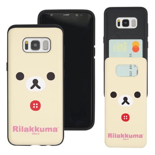 Galaxy S8 Plus Case Rilakkuma Slim Slider Card Slot Dual Layer Holder Bumper Cover - Face Korilakkuma