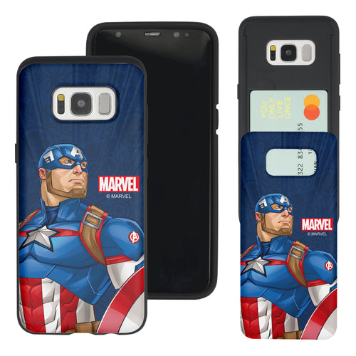 Galaxy S7 Edge Case Marvel Avengers Slim Slider Card Slot Dual Layer Holder Bumper Cover - Illustration Captain America