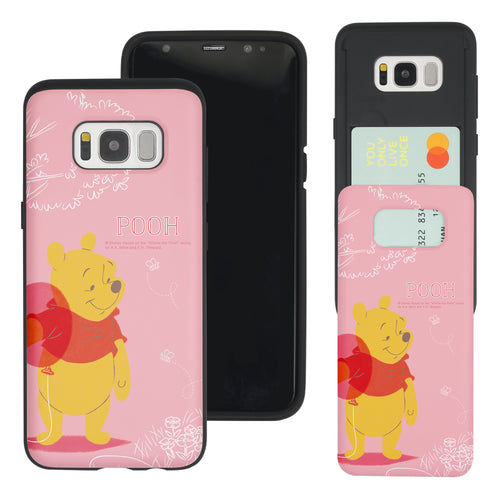 Galaxy S8 Case (5.8inch) Disney Pooh Slim Slider Card Slot Dual Layer Holder Bumper Cover - Balloon Pooh Ground