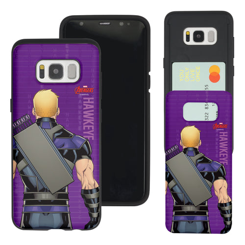 Galaxy S7 Edge Case Marvel Avengers Slim Slider Card Slot Dual Layer Holder Bumper Cover - Back Hawkeye