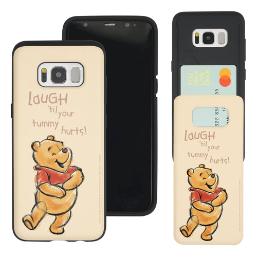 Galaxy S8 Case (5.8inch) Disney Pooh Slim Slider Card Slot Dual Layer Holder Bumper Cover - Words Pooh Laugh