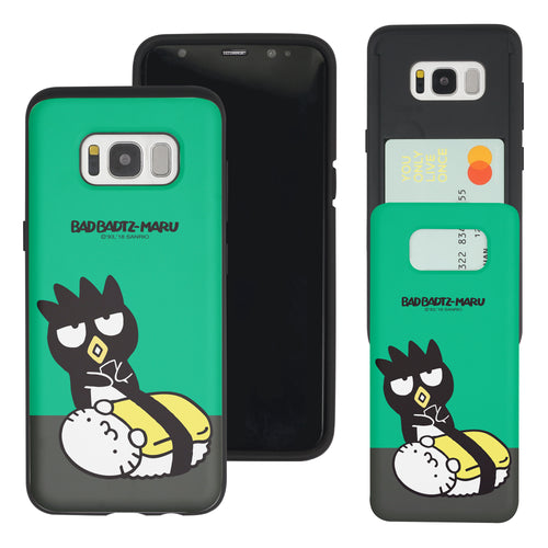 Galaxy S8 Case (5.8inch) Sanrio Slim Slider Card Slot Dual Layer Holder Bumper Cover - Sushi Bad Badtz-Maru Egg