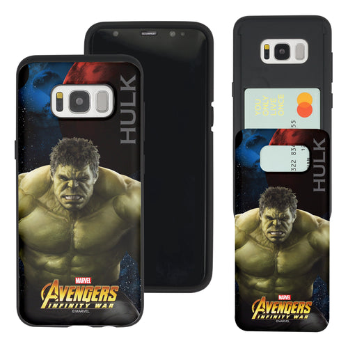 Galaxy S7 Edge Case Marvel Avengers Slim Slider Card Slot Dual Layer Holder Bumper Cover - Infinity War Hulk