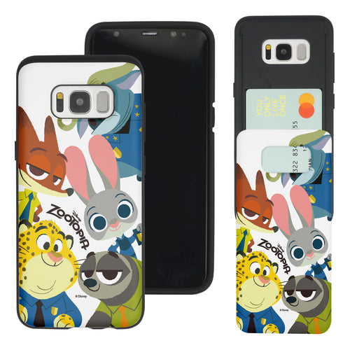 Galaxy S8 Case (5.8inch) Disney Zootopia Dual Layer Card Slide Slot Wallet Bumper Cover - Zootopia Big