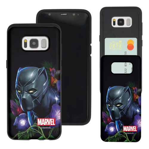 Galaxy S7 Edge Case Marvel Avengers Slim Slider Card Slot Dual Layer Holder Bumper Cover - Black Panther Face Black