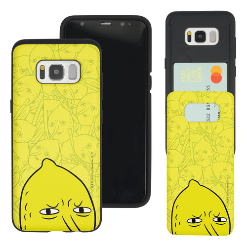 Galaxy S8 Case (5.8inch) Adventure Time Slim Slider Card Slot Dual Layer Holder Bumper Cover - Pattern Lemongrab Big