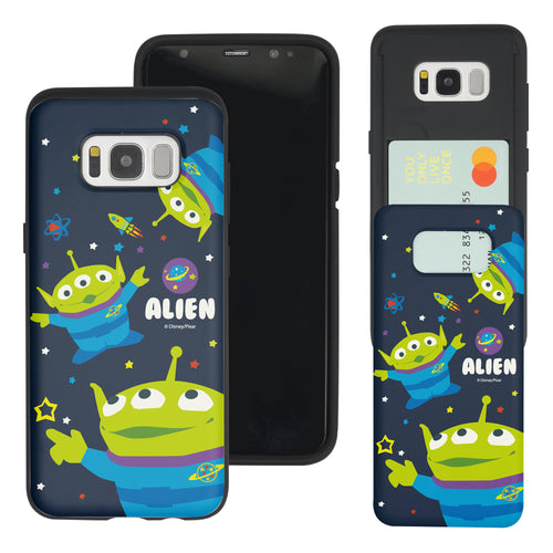 Galaxy S8 Plus Case Toy Story Slim Slider Card Slot Dual Layer Holder Bumper Cover - Pattern Alien Space