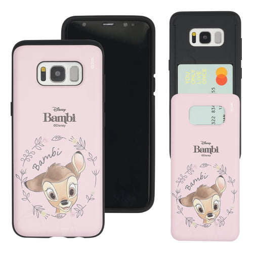 Galaxy S8 Case (5.8inch) Disney Bambi Slim Slider Card Slot Dual Layer Holder Bumper Cover - Face Bambi