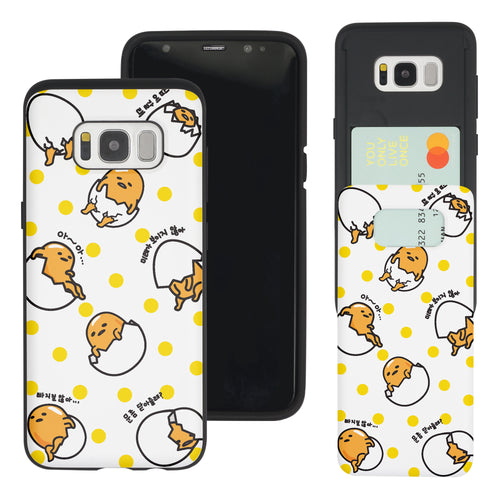 Galaxy Note5 Case Sanrio Slim Slider Card Slot Dual Layer Holder Bumper Cover - Pattern Gudetama Dot Yellow