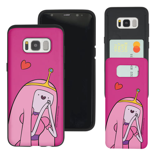 Galaxy S7 Edge Case Adventure Time Slim Slider Card Slot Dual Layer Holder Bumper Cover - Vivid Princess Bubblegum