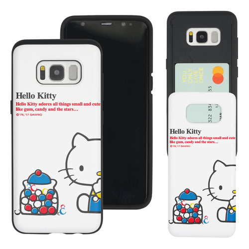 Galaxy S8 Case (5.8inch) Sanrio Slim Slider Card Slot Dual Layer Holder Bumper Cover - Hello Kitty C