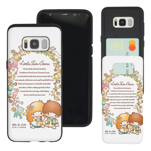 Galaxy S8 Case (5.8inch) Sanrio Slim Slider Card Slot Dual Layer Holder Bumper Cover - Little Twin Stars Story