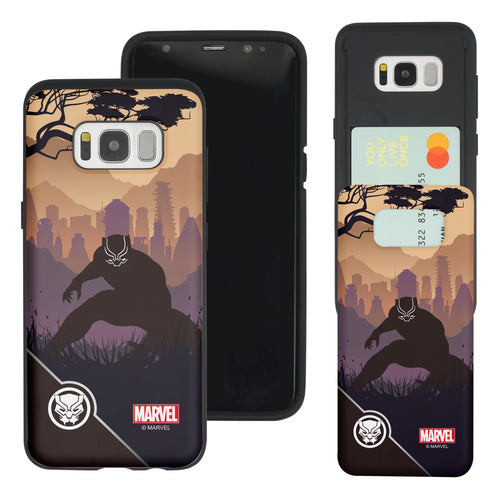 Galaxy S7 Edge Case Marvel Avengers Slim Slider Card Slot Dual Layer Holder Bumper Cover - Shadow Black Panther