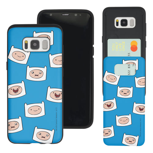 Galaxy S7 Edge Case Adventure Time Slim Slider Card Slot Dual Layer Holder Bumper Cover - Pattern Finn