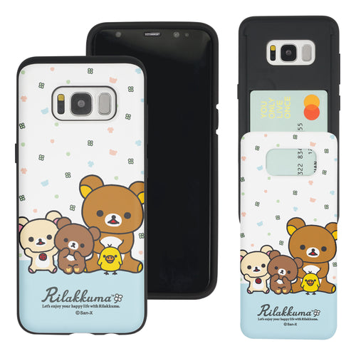 Galaxy S8 Plus Case Rilakkuma Slim Slider Card Slot Dual Layer Holder Bumper Cover - Rilakkuma Friends