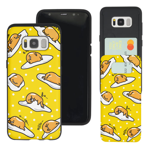 Galaxy S8 Case (5.8inch) Sanrio Slim Slider Card Slot Dual Layer Holder Bumper Cover - Pattern Gudetama Yellow