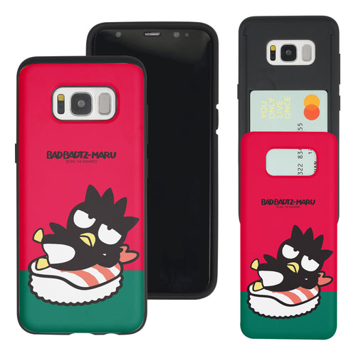Galaxy S8 Case (5.8inch) Sanrio Slim Slider Card Slot Dual Layer Holder Bumper Cover - Sushi Bad Badtz-Maru Shrimp