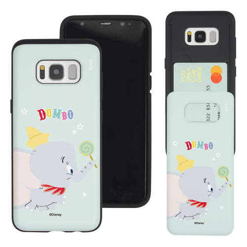 Galaxy S8 Case (5.8inch) Disney Dumbo Slim Slider Card Slot Dual Layer Holder Bumper Cover - Dumbo Candy