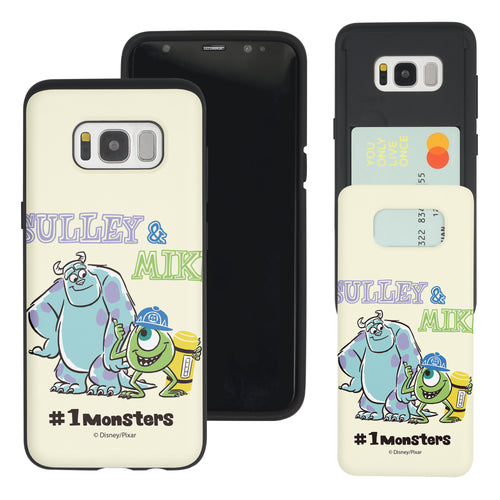 Galaxy S8 Plus Case Monsters University inc Slim Slider Card Slot Dual Layer Holder Bumper Cover - Cartoon 1 Monsters