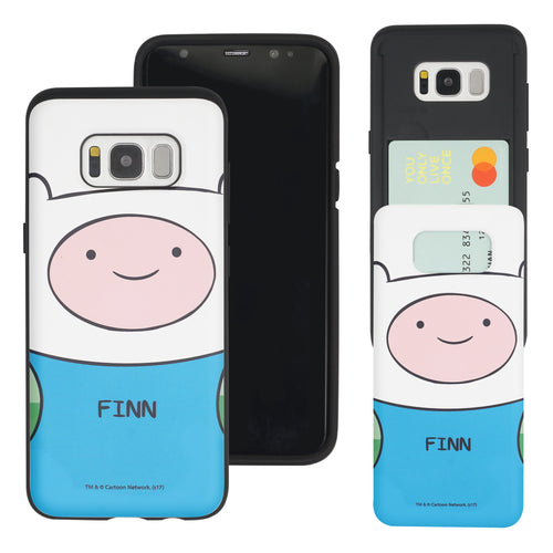 Galaxy S8 Plus Case Adventure Time Slim Slider Card Slot Dual Layer Holder Bumper Cover - Finn Mertens
