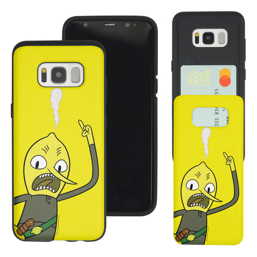 Galaxy S7 Edge Case Adventure Time Slim Slider Card Slot Dual Layer Holder Bumper Cover - Vivid Lemongrab
