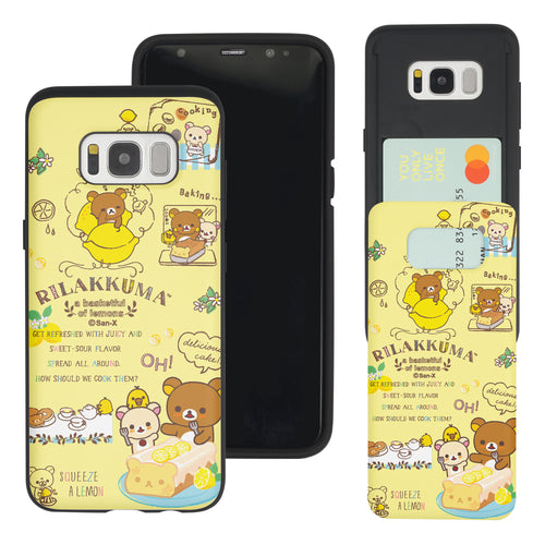 Galaxy S8 Plus Case Rilakkuma Slim Slider Card Slot Dual Layer Holder Bumper Cover - Rilakkuma Cooking