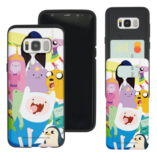 Galaxy S8 Plus Case Adventure Time Slim Slider Card Slot Dual Layer Holder Bumper Cover - Cuty Adventure Time