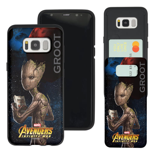 Galaxy S7 Edge Case Marvel Avengers Slim Slider Card Slot Dual Layer Holder Bumper Cover - Infinity War Groot