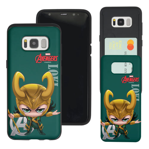 Galaxy S7 Edge Case Marvel Avengers Slim Slider Card Slot Dual Layer Holder Bumper Cover - Mini Loki
