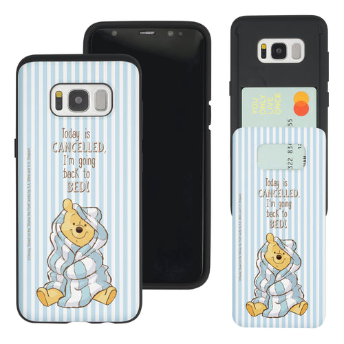 Galaxy S8 Case (5.8inch) Disney Pooh Slim Slider Card Slot Dual Layer Holder Bumper Cover - Words Pooh Stripe