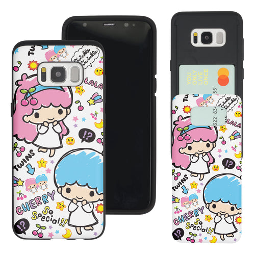 Galaxy S8 Case (5.8inch) Sanrio Slim Slider Card Slot Dual Layer Holder Bumper Cover - Fun Little Twin Stars