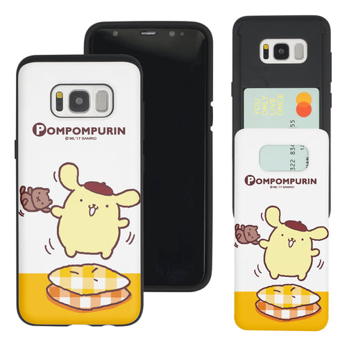 Galaxy S8 Case (5.8inch) Sanrio Slim Slider Card Slot Dual Layer Holder Bumper Cover - Pompompurin 1