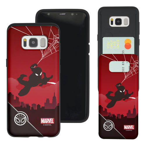 Galaxy S7 Edge Case Marvel Avengers Slim Slider Card Slot Dual Layer Holder Bumper Cover - Shadow Spider Man