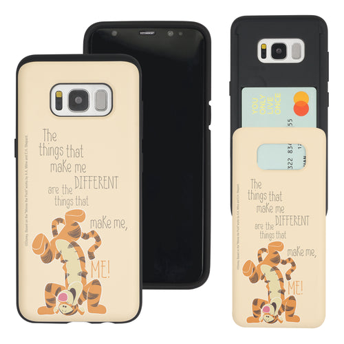 Galaxy S8 Case (5.8inch) Disney Pooh Slim Slider Card Slot Dual Layer Holder Bumper Cover - Words Tigger