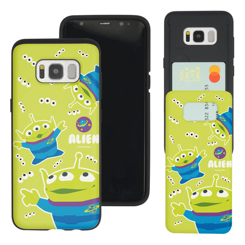 Galaxy S8 Plus Case Toy Story Slim Slider Card Slot Dual Layer Holder Bumper Cover - Pattern Alien Eyes