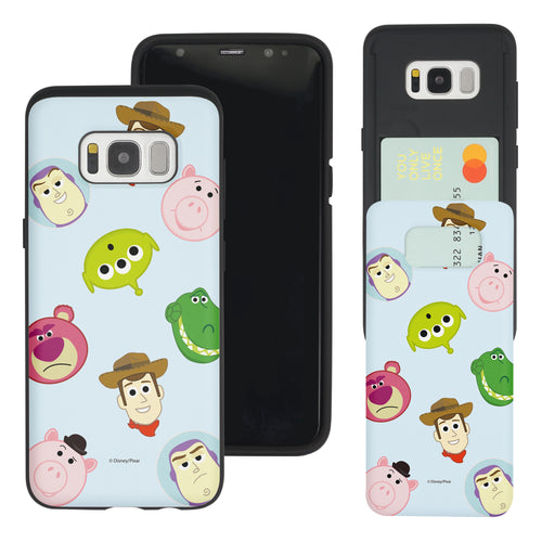 Galaxy S8 Plus Case Toy Story Slim Slider Card Slot Dual Layer Holder Bumper Cover - Pattern Face