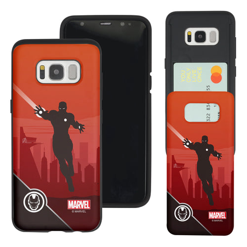 Galaxy S7 Edge Case Marvel Avengers Slim Slider Card Slot Dual Layer Holder Bumper Cover - Shadow Iron Man