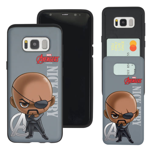 Galaxy S7 Edge Case Marvel Avengers Slim Slider Card Slot Dual Layer Holder Bumper Cover - Mini Nick Fury
