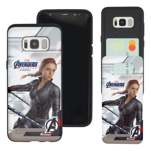 Galaxy S7 Edge Case Marvel Avengers Slim Slider Card Slot Dual Layer Holder Bumper Cover - End Game Black Widow