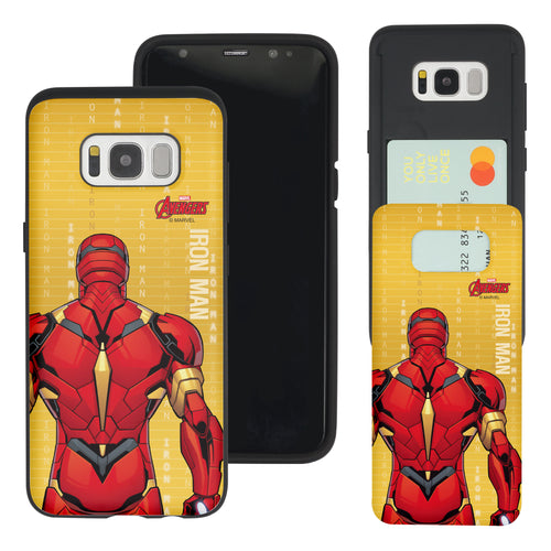 Galaxy S7 Edge Case Marvel Avengers Slim Slider Card Slot Dual Layer Holder Bumper Cover - Back Iron Man