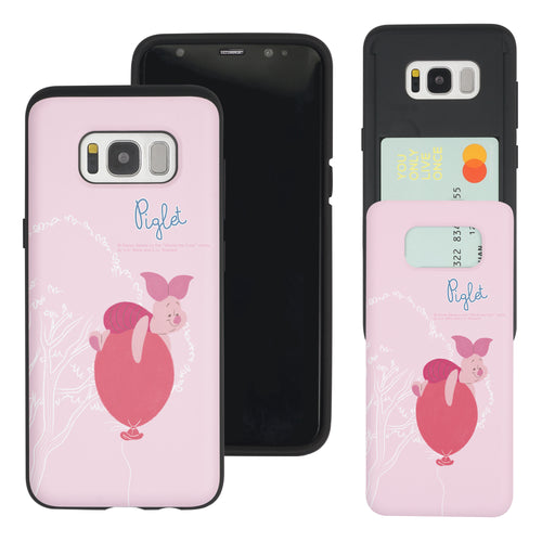 Galaxy S8 Case (5.8inch) Disney Pooh Slim Slider Card Slot Dual Layer Holder Bumper Cover - Balloon Piglet