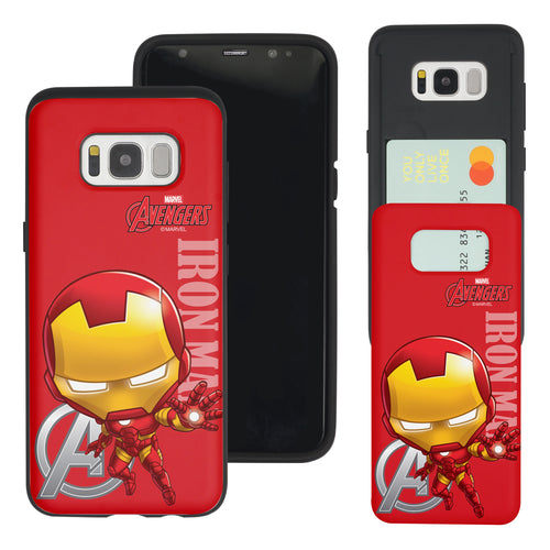 Galaxy S7 Edge Case Marvel Avengers Slim Slider Card Slot Dual Layer Holder Bumper Cover - Mini Iron Man