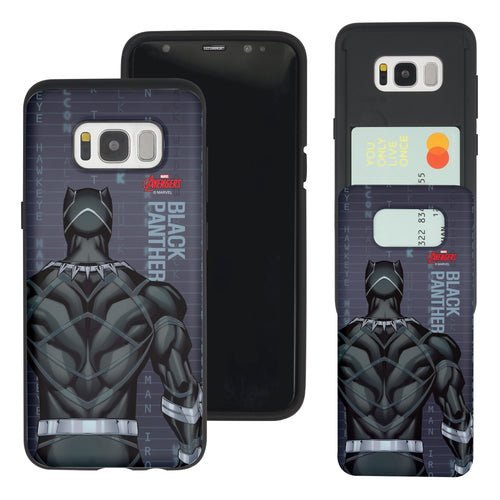Galaxy S7 Edge Case Marvel Avengers Slim Slider Card Slot Dual Layer Holder Bumper Cover - Back Black Panther