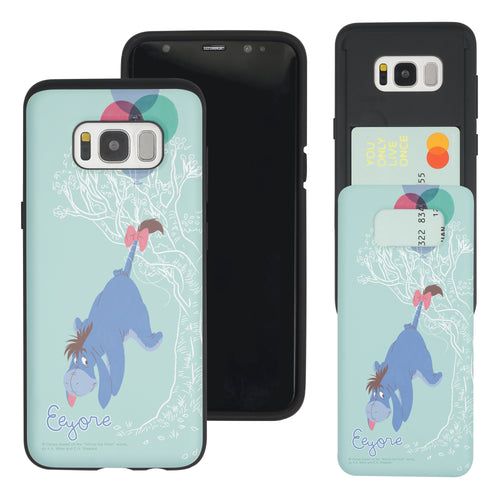 Galaxy S8 Case (5.8inch) Disney Pooh Slim Slider Card Slot Dual Layer Holder Bumper Cover - Balloon Eeyore
