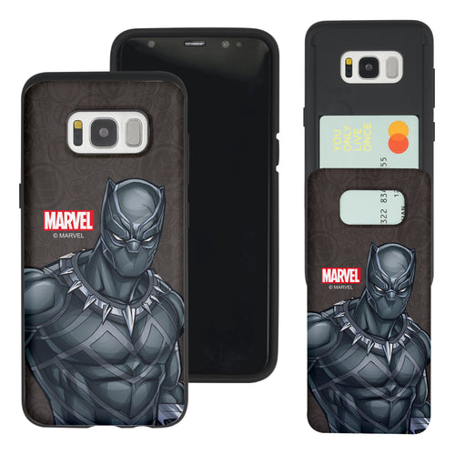 Galaxy S7 Edge Case Marvel Avengers Slim Slider Card Slot Dual Layer Holder Bumper Cover - Illustration Black Panther