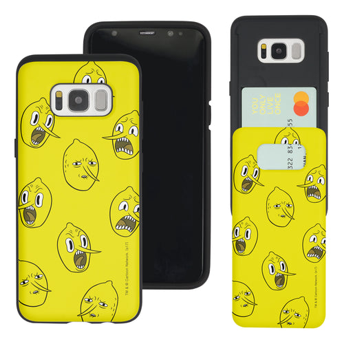 Galaxy S7 Edge Case Adventure Time Slim Slider Card Slot Dual Layer Holder Bumper Cover - Pattern Lemongrab