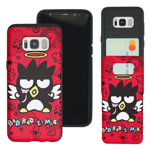 Galaxy S8 Case (5.8inch) Sanrio Slim Slider Card Slot Dual Layer Holder Bumper Cover - Bad Badtz-Maru Angel